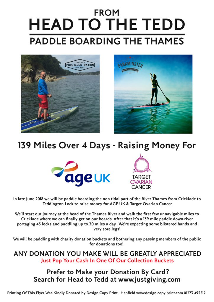 Richard Patey Pure Illustration Head to Tedd Stand Up Paddle Boarding the River Thames