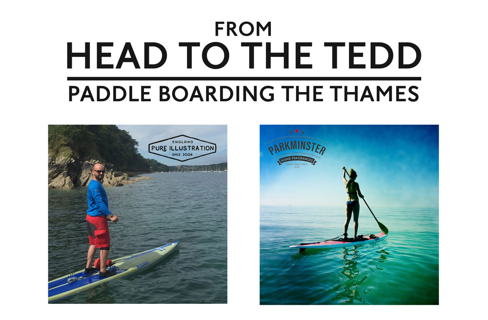 Pure Illustration's Richard Patey is raising money for AGE UK Stand Up Paddleboarding the Thames